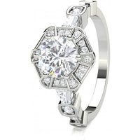 Halo Engagement Ring in White Gold with 0.90ct Diamond H SI1