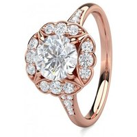 HaloEngagement Ring inRose Gold with 0.90ct Diamond H I1
