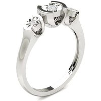 Three Stone Ring in Plate Prong Setting with 0.1000 ct. wt