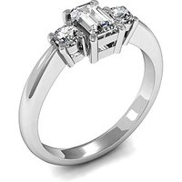 Trilogy Engagement Ring in White Gold with 0.45ct Diamond H-I SI