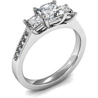 Trilogy Engagement Ring in White Gold with 0.50ct Diamond H-I I1