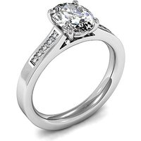 Side Stone Engagement Ring in White Gold with 0.50ct Diamond H SI1