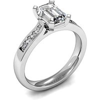Side Stone Engagement Ring in White Gold with 0.25ct Diamond H SI1