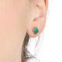 Sacet Ornate Square Malachite Earrings