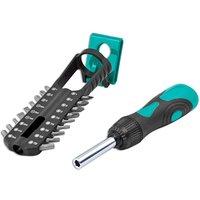 Kamasa 55703 Ratchet Screwdriver Set 19pc Soft grip & magnetic bit holder