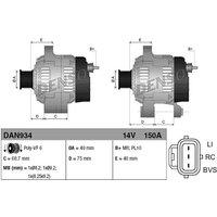 Denso DAN934 Alternator 14 V 150 A