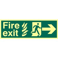 Fire Exit Arrow Right Glow In The Dark