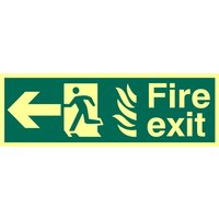 Fire Exit Arrow Left Glow In The Dark