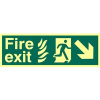 Fire Exit Arrow Diagonal Down Right Glow In The Dark