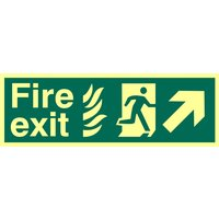 Fire Exit Arrow Diagonal Up Right Glow In The Dark