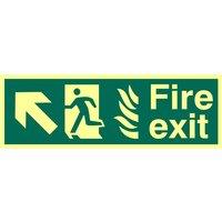 Fire Exit Arrow Diagonal Up Left Glow In The Dark