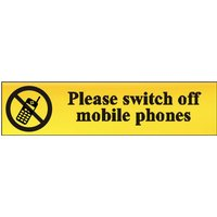 Polished Gold Style Please Switch Off Mobile Phones Sign