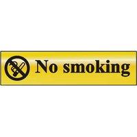 Gold Effect No Smoking Notice 200x50mm