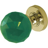 Green Faceted Glass Door Knobs 60mm