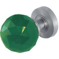 Green Faceted Glass Door Knobs 60mm