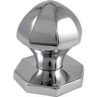 Polished Chrome Faceted Style Front Door Knob 64mm