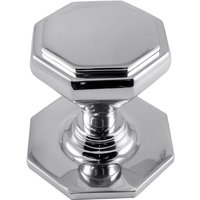 Polished Chrome Octagonal Front Door Knob 67mm
