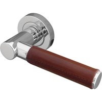 Ascot Tan Leather Chrome Lever on Rose Handles