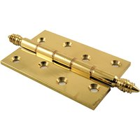 Polished Brass Finial Hinges Phosphor Bronze Washered 102x67x3mm