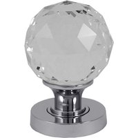 Clear Glass Cut Style Interior Door Knobs Polished Chrome Fixing Plate