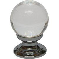 Clear Glass Ball Style Cabinet Knob Polished Chrome