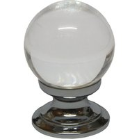 Clear Glass Ball Style Cabinet Knob 35mm Polished Chrome