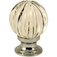 Clear Glass Pumpkin Style Cabinet Knob 30mm Polished Chrome