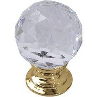 Clear Glass Cut Style Cabinet Knob Brass