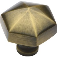 Heritage C2238 Antique Brass Hexagon Cupboard Knob 32mm