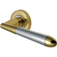 Heritage V1850 Turin Chrome and Brass Round Rose Lever Set