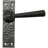 Black Antique Ironwork Non Locking Door Handle Set 152x38mm 2445