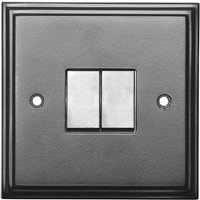 Black Hammered Finish 2 Gang Wall Switch 5116