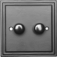 Black Hammered Finish 2 Gang Dimmer Wall Switch 5122