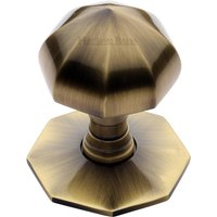 Aged Brass Faceted Front Door Knob 2.5in