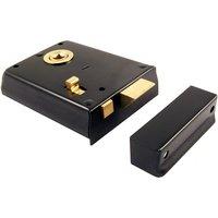 Black Rim Door Latch With Slide Lock Action 4x3in