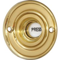 Brass 60mm Round Door Bell Ceramic Press