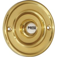 Brass 76mm Round Door Bell Ceramic Press
