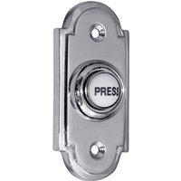 Matt Chrome Door Bell 76x33mm Ceramic Press
