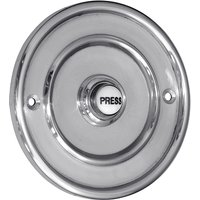 Matt Chrome 100mm Round Door Bell Ceramic Press