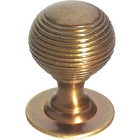 Brass Antiqued Finish Reeded Cabinet Knob