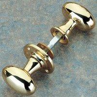 Brass Unlacquered Oval Rim Door Knob Set