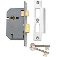 Assa Abloy 51mm Upright Mortice Lock 3 Lever Matt Chrome