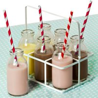 6 School Milk Bottles In Crate with Red Striped Paper Straws 3.5oz / 100ml - School Gifts