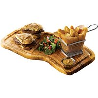 Genware Olive Wood Serving Board with Groove 40 x 21cm - Wood Gifts
