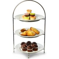 Utopia Chrome 3 Tier Cake Plate Stand 16.5inch / 42cm with 23cm Plates
