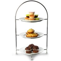 Utopia Chrome 3 Tier Cake Plate Stand 15.5inch / 39cm with 17cm Plates - Cake Gifts