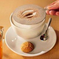 Genware Stainless Steel Coffee Stencil Coffee Bean Design (Single)