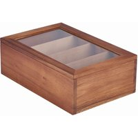 Genware Acacia Wood Tea Box - Wood Gifts