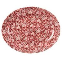 Churchill Vintage Prints Cranberry Victorian Calico Oval Dish 14.5inch / 36.5cm (Case of 6)