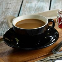 Royal Genware Black Bowl Shaped Cup and Saucer 12oz / 340ml (Pack of 6)